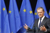 """Poland's Prime Minister Donald Tusk delivers a speech during the inauguration of the """"Esplanade Solidarnosc 1980"""" and """"Agora Simone Veil"""" at the EU Parliament in Brussels August 30, 2011.   REUTERS/Francois Lenoir  (BELGIUM - Tags: POLITICS) - RTR2QJTO"""